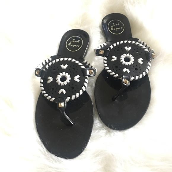 4c5be248e368 Jack Rogers Shoes - Jack Rogers Georgica jelly sandals Black white 8